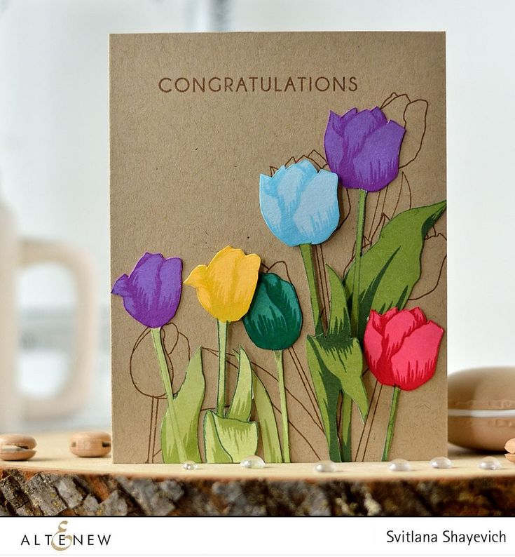 Fantastic kraft card with these vibrant tulips. Learn how our designer created this on our blog. www.altenew.com