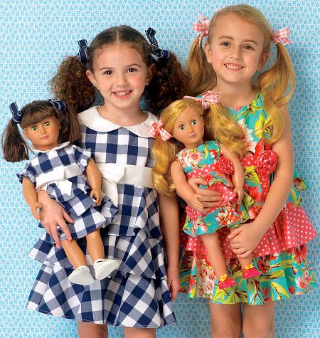 "A little girl and her doll would be the toast of the party in their matching outfits. Dresses are made up with two fabric choices and include matching dresses for 18"" (46 cm) doll. Have fun matching prints or coordinating solids. Dresses have lined bodice, contrast waistbands, tiered skirts and back zipper closure. Kwik Sew K0193, Children's/Girls'/Dolls' Dresses sewing pattern."