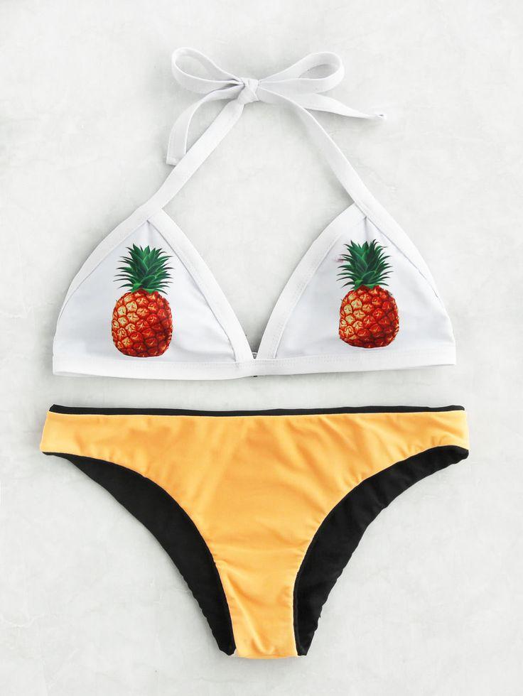 Pineapple Print Mix & Match Triangle Bikini Set