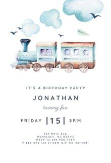 illustrated train birthday invitation party printables