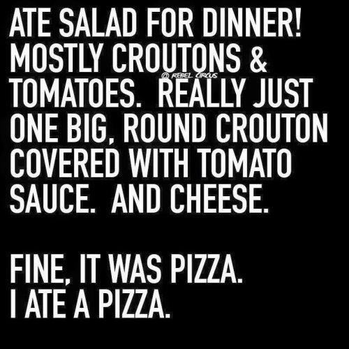 One big round crouton covered with tomato sauce. Best salad ever!
