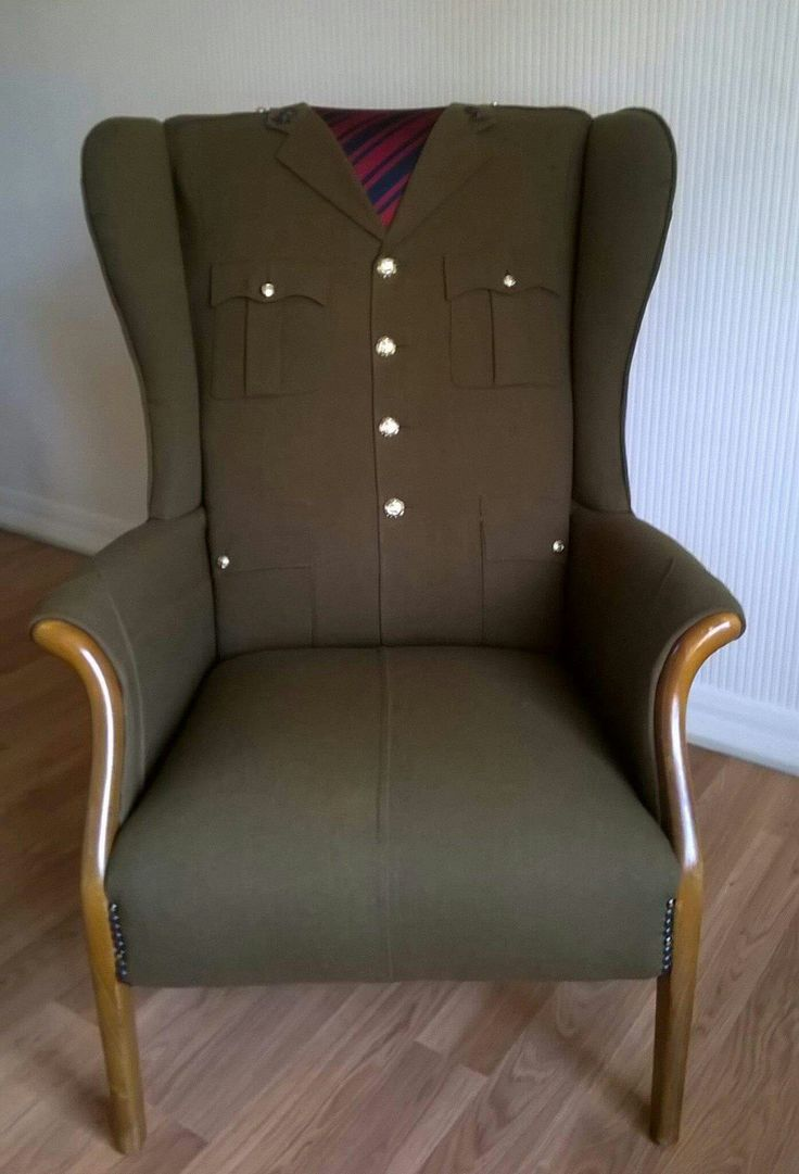 """A royal engineer soldier, serving in Afghanistan, sent me his uniform, and asked if i could put in on an armchair for him, he is away, such a lot, but coming home for Christmas, this is for his mum to sit in when he is away, how wonderful is that?""- Kaz Hawkins"