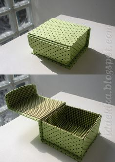 Cartonnage box - fabric covered box - good idea using a magnetic closer