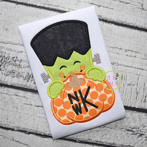 Frankenstein Pumpkin Peeker Applique