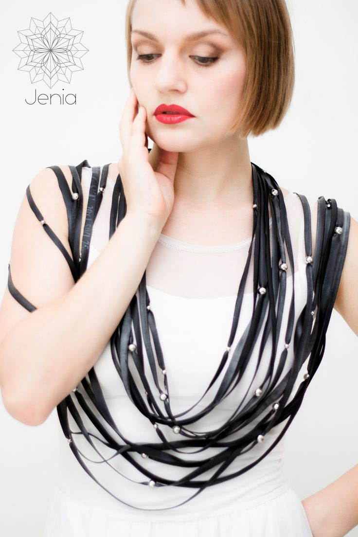 STRIPS . necklace  Bicycle inner tube, silver beads.  www.jeniadesign.com