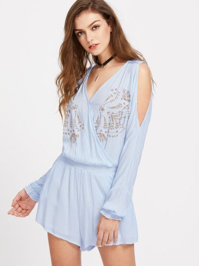 Open Shoulder Flower Embroidery Playsuit