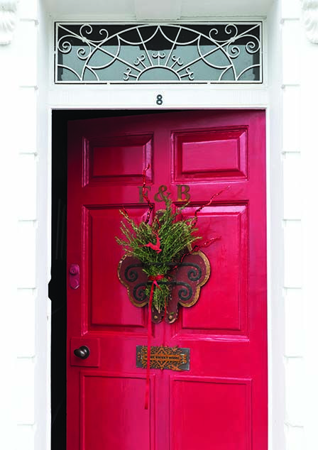 Front Door With A Festive Wreath Painted In Rectory Red By Farrow U0026 Ball  Farrow And