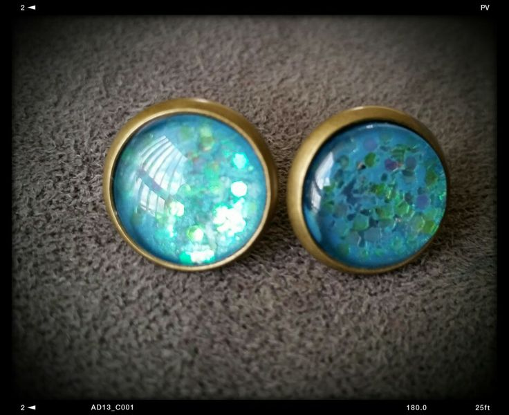 Glitter and enamel antique studs made by mellow studio on FB