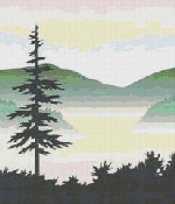 Lone Pine Mountain Counted Cross Stitch Pattern by xstitchpatterns