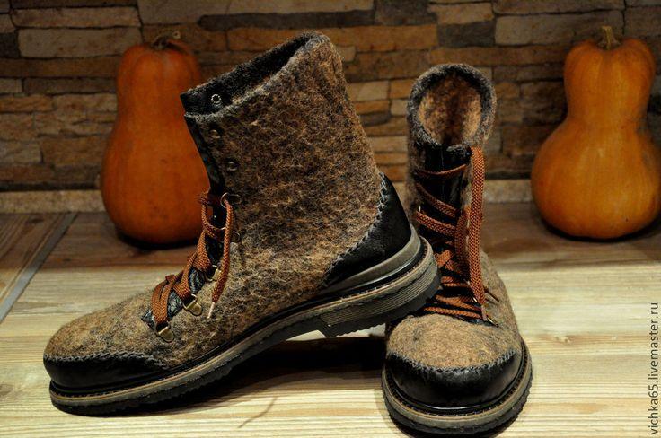 """Купить Ботинки валяные""""Современный Шерлок"""" TR - коричневый, валяная обувь, обувь ручной работы"""