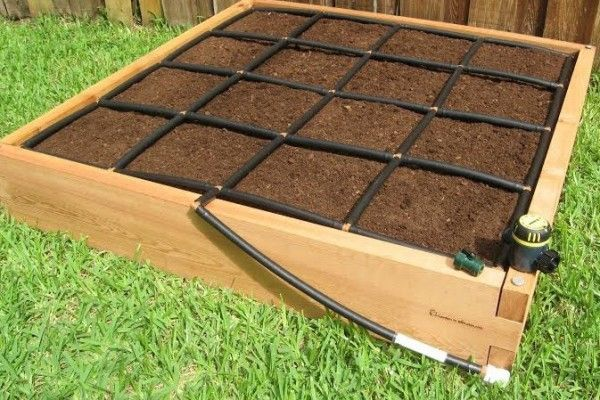 Drip Watering System that also defines the Square Foot Gardening. Awesome! …