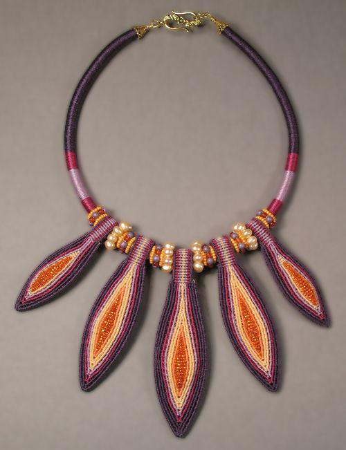 Joan Babcock Jewelry Purple Pods necklace, Micro-Macrame