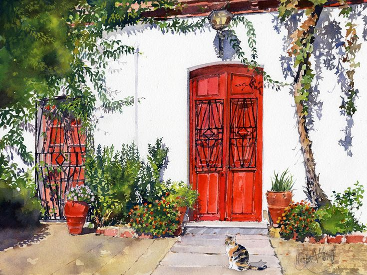 I love painting the colourful patios of old cottagesthat I have come across in the towns and villages of Andalucia. Normally the windows and doors are painted blue or green as you can see from my ...