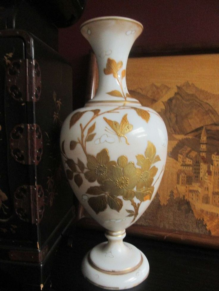 """Antique HARRACH Numbered OPALINE Milk GLASS VASE w Gold Blossoms & Incect 12"""" #AestheticMovement #Harrach"""