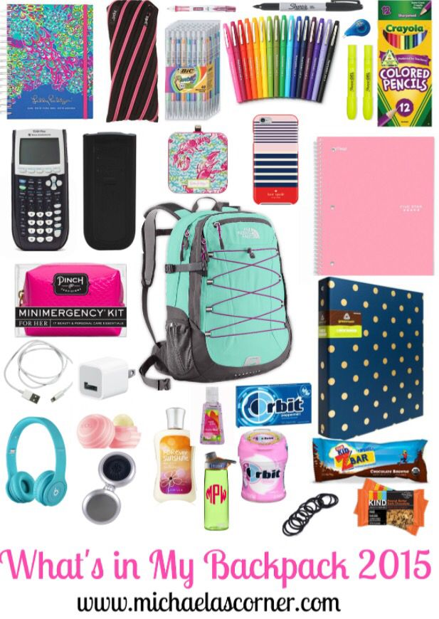 WHAT'S IN MY BACKPACK 2015?! #preppy #school Check out this awesome blog post on www.michaelascorner.com !!