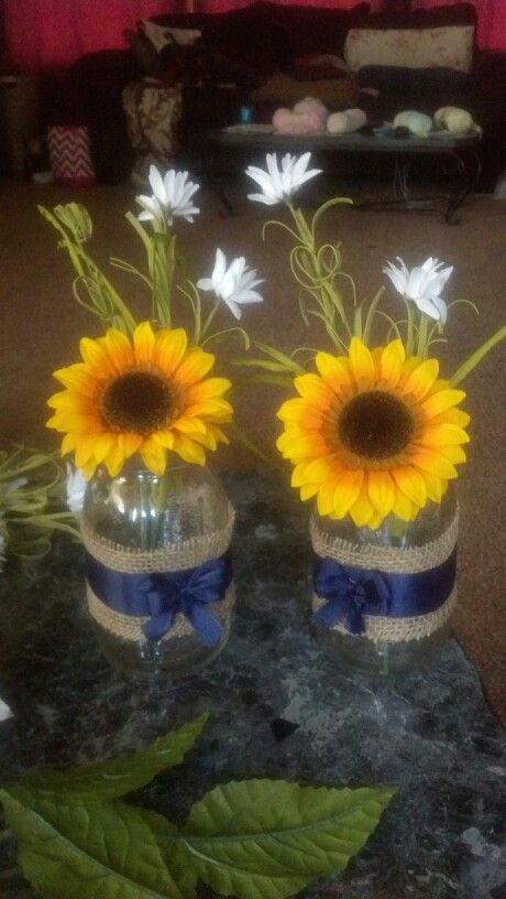Sunflower mason jar wedding decor