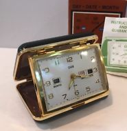 NOS VTG Elgin #8828 Day-Date-Month Automatic Calendar Travel Alarm Clock Brass