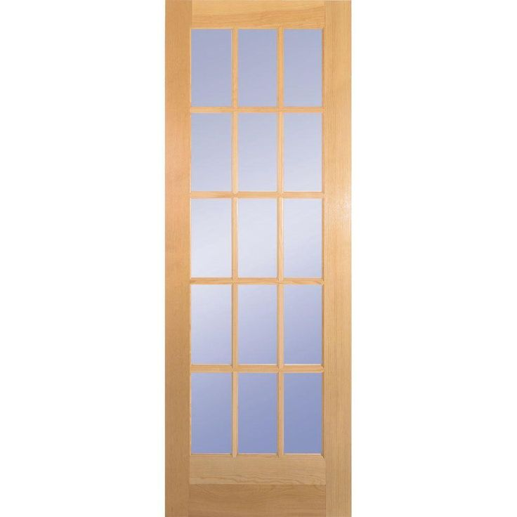 Good Clear Pine Wood 15 Lite French Interior Door Slab