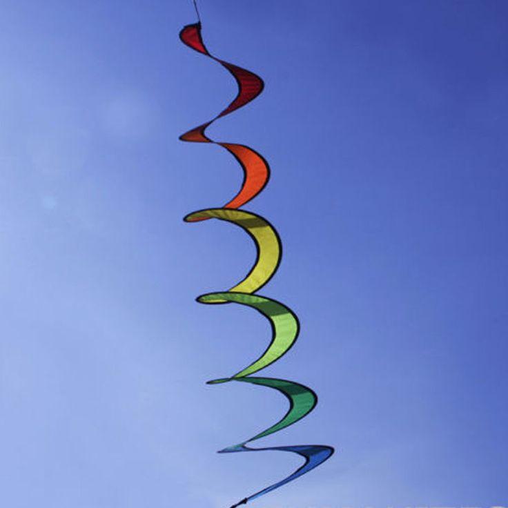 Rainbow Spiral Windmill Wind Spinner Twist Camping Tent Home Garden Decor