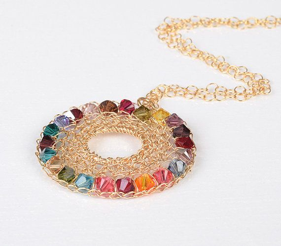 Colorful Rainbow Swarovski Statement crochet by StavHoffmanJewelry