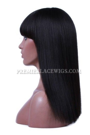 Indian Remy Hair Full Bangs One Length Bob 150% Thick Density Yaki Straight Glueless Non-lace Wigs With Natural Looking Silk Top Hair Whorl-Premierlacewigs.com