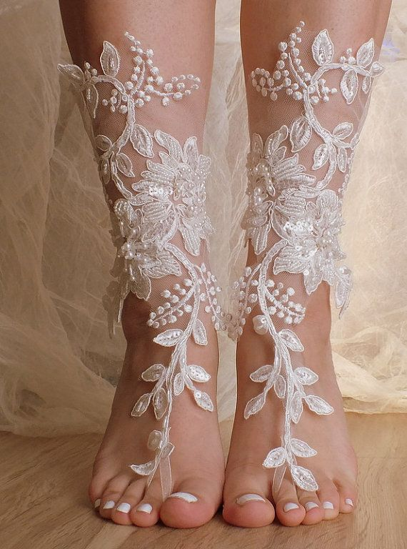 Unique Lace sandals ivory Beach wedding by ByMiracleBridal on Etsy