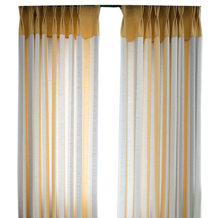 Yellow And White Striped Curtains Gray Linen Cotton ...