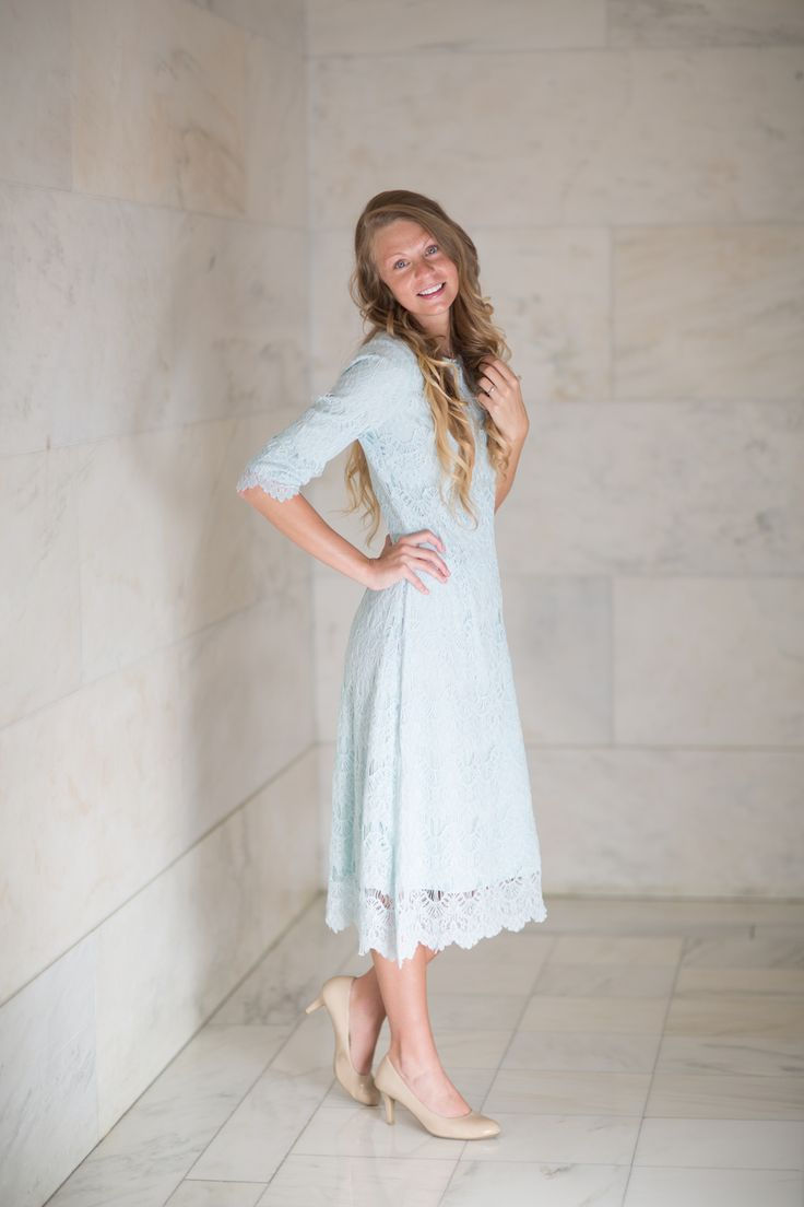 Modest Fashion | Modest Bridesmaid Dresses | Baby Blue Lace Night in Paris Dress by Dainty Jewell's