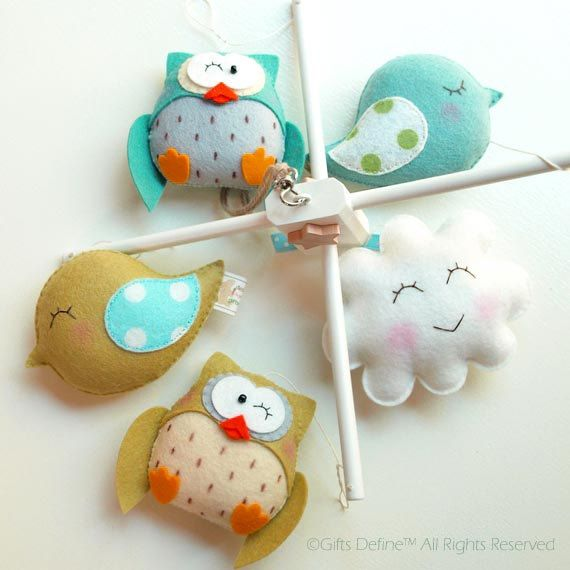Musical Baby Mobile Friendly Owls and Birds Custom by GiftsDefine