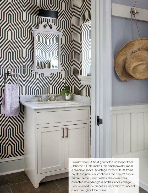 crazy in love with geometric wallpaper in the bathroom