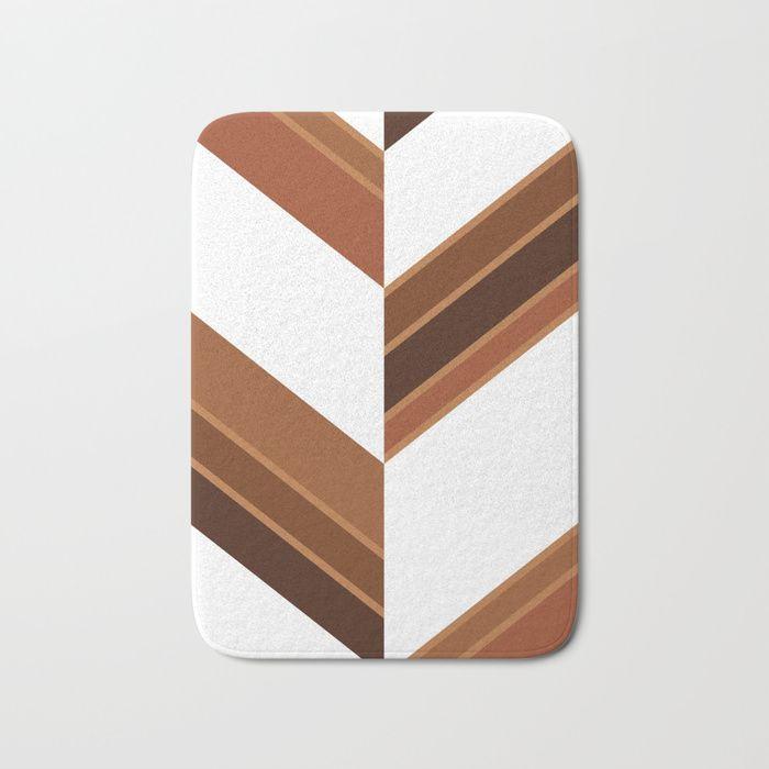 $27.99 The perfect bath mats: fuzzy, foamy and finely enhanced with brilliant art. #bath #mat #bathmat #home #decor #stripes #brown #wood #white #elegant #modern #pattern #geometric #asymmetric #buyart #society6 #gift #giftideas