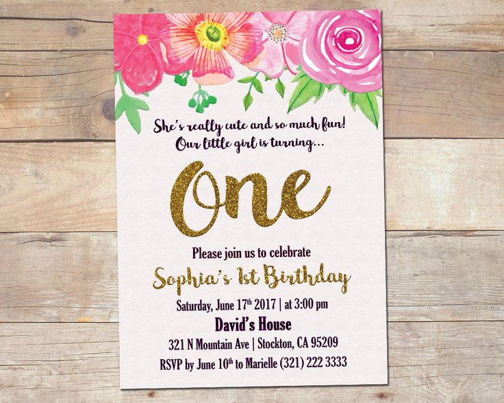 Floral 1st Birthday Invitation / Girl First Birthday Invitation / Watercolor Flowers / One Birthday Invitation / Printable / Digital by TheFUNtasticDesign on Etsy