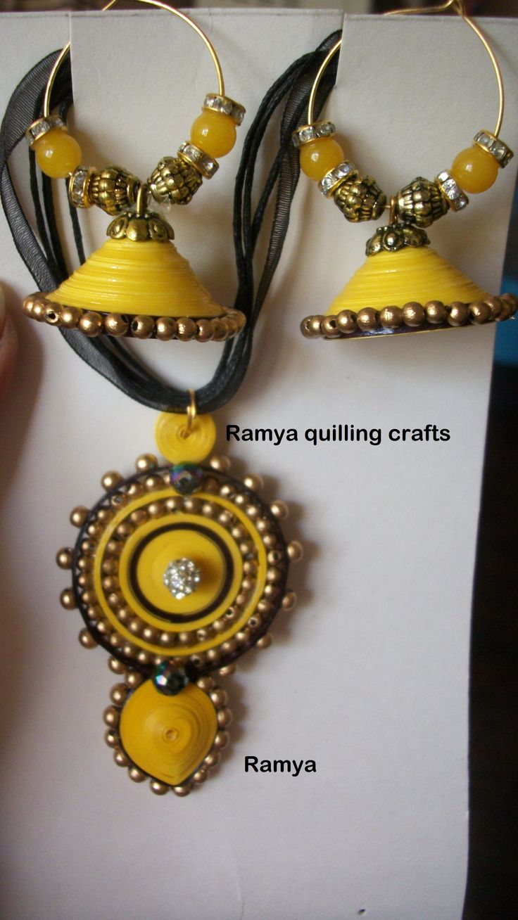 pretty yellow quilled jhumkas