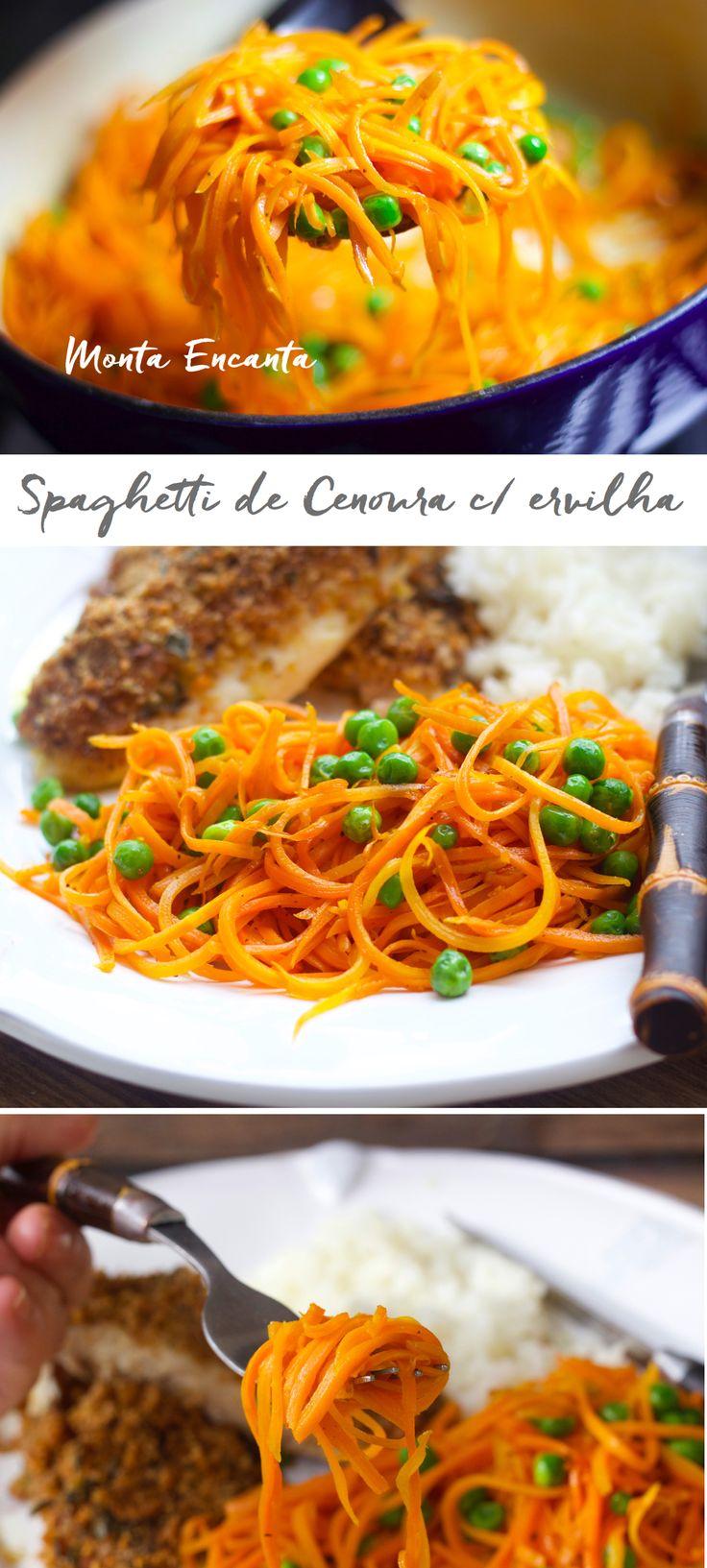 Spaghetti de Cenoura com ervilhas frescas. Finas tiras de cenoura, al dente, refogada na manteiga, levemente adocicada e temperada com com sal grosso e pimenta do reino. Rapidinha de fazer …
