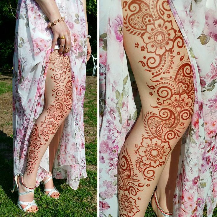 This is a great color for my skin tone! More reddish? I like the henna design as well, although I would not wont it all the way up my thigh...