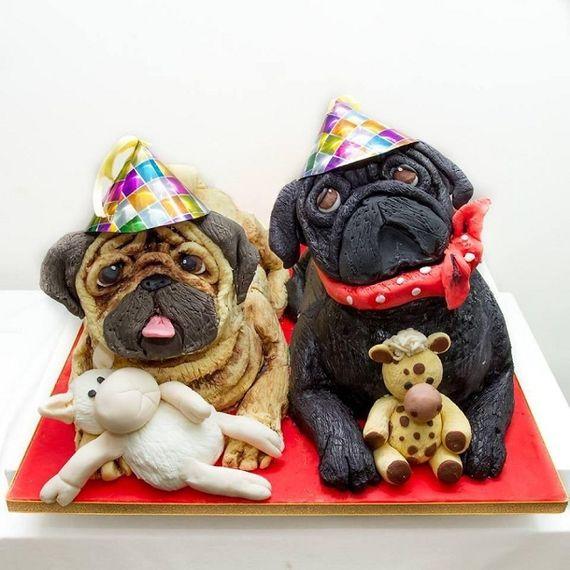 Gâteau d'anniversaire - Chiens Carlin. Pour voir plus de pâtisseries insolites c'est par ici http://blog.doctissimo.fr/il-etait-une-mignardise/decouvertes-702311/patisseries-insolites-realistes-23451754.html