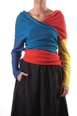 daniela gregis. Maybe not the colours... but cool idea. Best of both worlds... for those mornings when you can't decide which sweater to wear ;) Wear a bit of both!