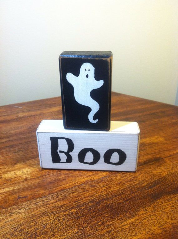 Halloween ghost boo spooky distressed primitive rustic country wood blocks stacking blocks