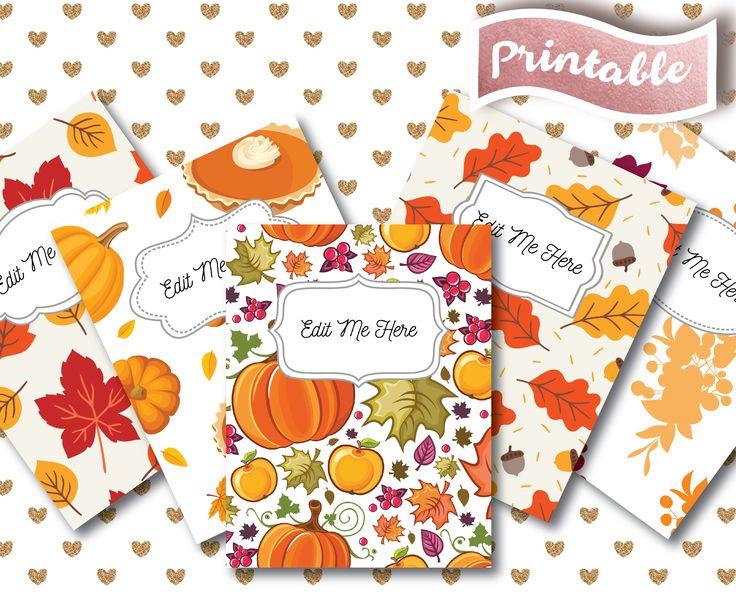 Teacher Binder // Cover Page Spines // Custom Editable Binder // Summer // College Student Plan // Organizer A4 // School Inserts PDF // Sale Discount // Leaves // Fall // Autumn // Red // Orange // Green // White // Pumpkin // Thanksgiving // Tree