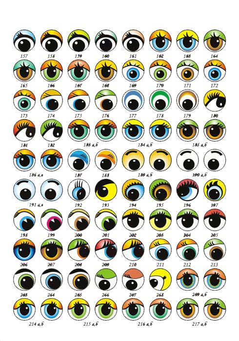 muchos moldes de ojos de fofuchas