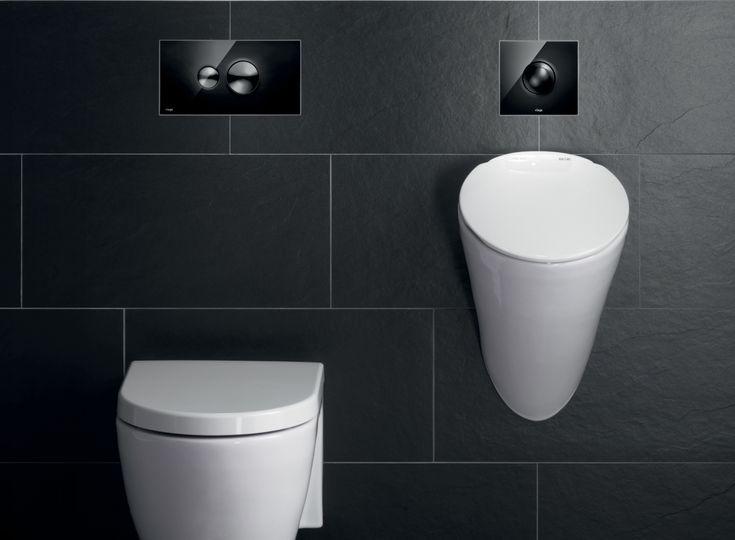 Stijlvolle zwarte design-bedieningsplaat voor wc en urinoir - Viega Visign for Style