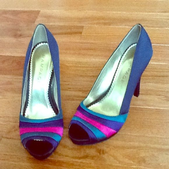 Rampage navy blue pumps Great condition. Used only once to a dinner. Navy blue satin material with green, purple, and pink colors in front. No trades. Rampage Shoes Heels