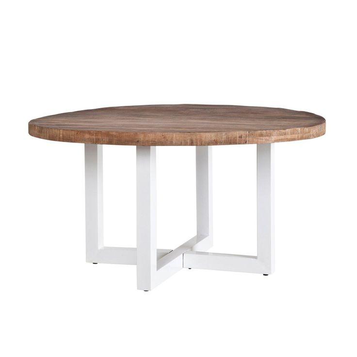 Esstisch Harbor rund mit weißem Tischgestell und massiver Platte aus Mangoholz
