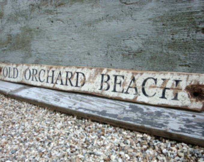 Rustic Distressed Old Orchard Beach Maine Wood Sign
