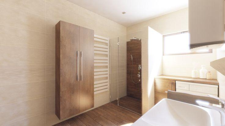 Moderná kúpeľňa v béžovo hnedej kombinácii. Kombinácia mramor a drevo.Návrh a vizualizácia.