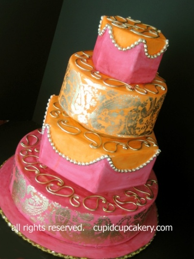 Pink, Orange and Gold Mendhi Wedding Cake By aprilismaius on CakeCentral.com