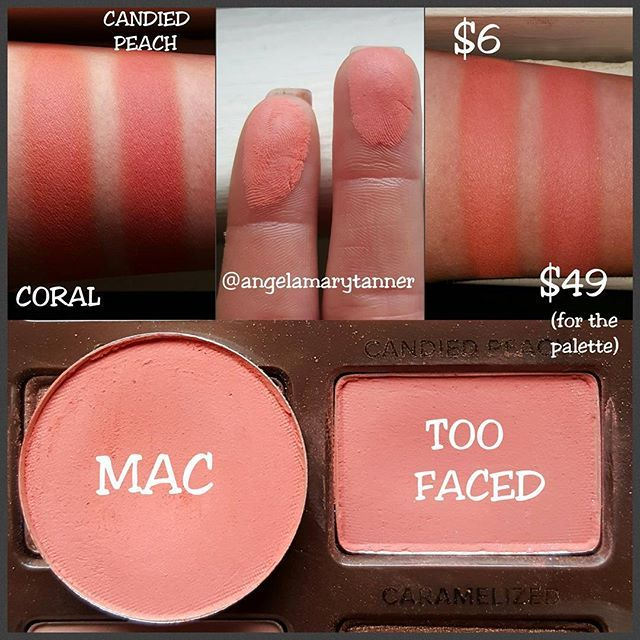 TOO FACED 'CANDIED PEACH' ($49, SWEET PEACH PALETTE) vs MAC 'CORAL' ($6) First SWEET PEACH DUPE! MAC CORAL is a great dupe for CANDIED PEACH! They're both matte orangey pinks. CANDIED PEACH has a dusting of violet microglitter but it doesn't really adhere to the skin. Also once you use the top layer of CANDIED PEACH, the amount of glitter begins to lessen (If you look at the photo of the pan, you can barely see any glitter). I would say that CORAL is a half shade lighter and a touch more…