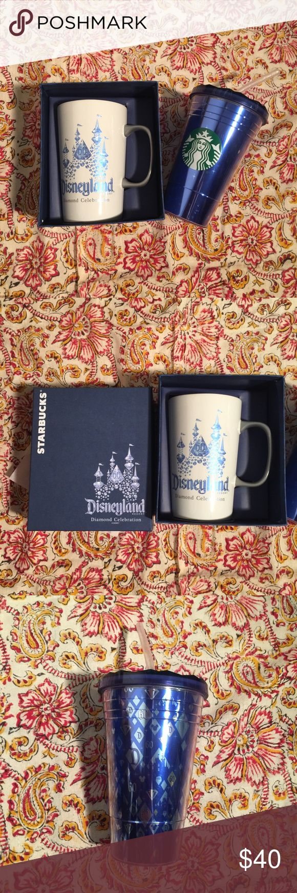 Starbucks Disneyland 60th Anniversary Mug Tumbler Set of 2 Disneyland Diamond Celebration coffee mug and travel tumbler. Limited edition for the 60th anniversary celebration. Coffee mug has the Disney castle on one side and Starbucks logo on the other and the tumblr has the Starbucks logo and diamond pattern with diamond textured screw lid and straw. Both are brand new- mug in box. Starbucks Other