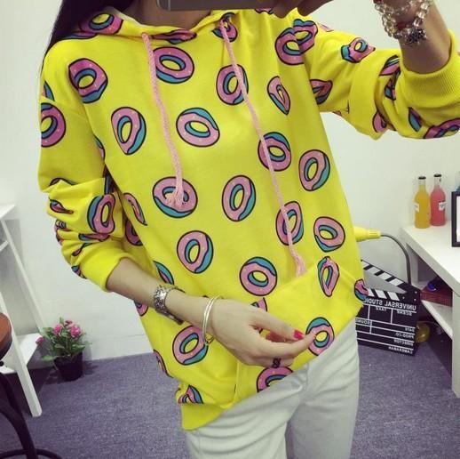 Autumn women hoodies sweatshirts yellow large size S-XXL sudaderas mujer fashion feminino moleton Cute donut print pullovers