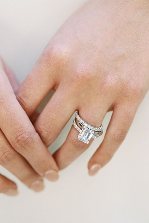 Emerald Cut Engagement Ring with a Diamond Band | Allen Tsai Photography | http://heyweddinglady.com/edgy-modern-wedding-dramatic-blood-orange-black/